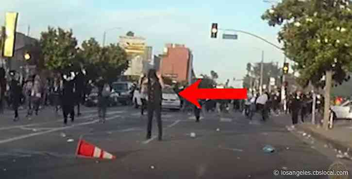 LAPD Releases Bodycam Video Of Man Being Shot With Less-Lethal Munition During Fairfax Protests
