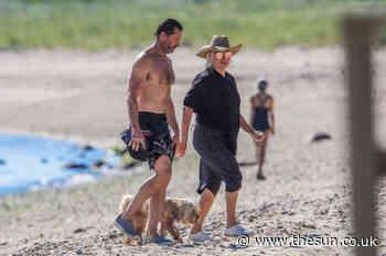 Hugh Jackman, 51, smolders in shirtless beach romp with swimsuit clad wife Deborra-Lee Furness, 64 - The Sun