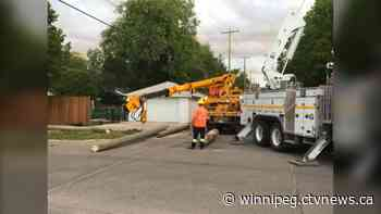 Manitoba Hydro replacing power pole after car crashes into it - CTV News Winnipeg