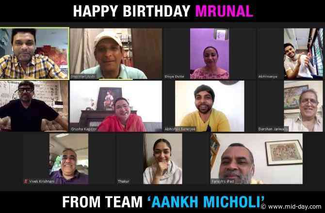 A surprise virtual birthday celebration for Mrunal Thakur, by the Aankh Micholi team!