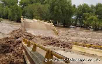 Colapsa puente de Buena Vista en Rodeo por creciente del río San Juan - El Sol de Durango