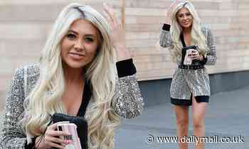 Paige Turley puts on leggy display in silver sequin blazer dress for night out in Manchester