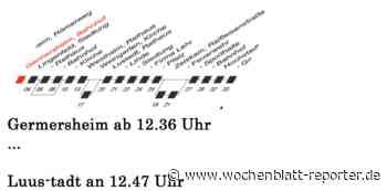 Reaktivierung der Bahnstrecke Germersheim - Landau: Germersheim ab 12.36 ... Luus-tadt an 12.47 - Germersheim - Wochenblatt-Reporter