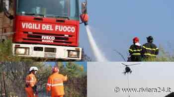 Bordighera, vigili del fuoco, protezione civile ed elicottero per spegnere l'incendio doloso a Montenero - Riviera24