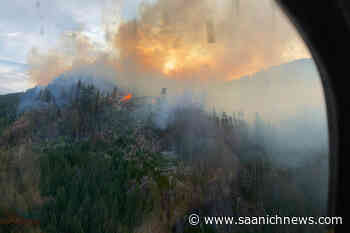 Crews challenged by mountaintop wildfire west of Nanaimo - Saanich News