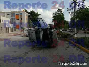Aparatoso accidente en el fraccionamiento Paraíso Maya - Reporte 24 Quintana Roo