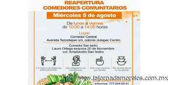 Reapertura DIF Jiutepec dos comedores comunitarios - La Jornada Morelos