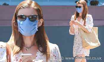Kate Mara looks summery in a light floral dressas she leaves a waxing appointment in Beverly Hills