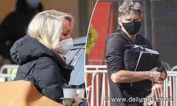 Jackie O and Dave Hughes are seen wearing face masks on set of The Masked Singer