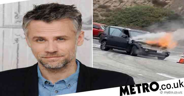 Richard Bacon and family in fire horror as car bursts into flames in middle of California road