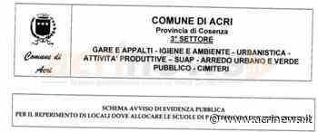 Il Comune cerca locali per le scuole Pastrengo e Campo sportivo - Acrinews.it