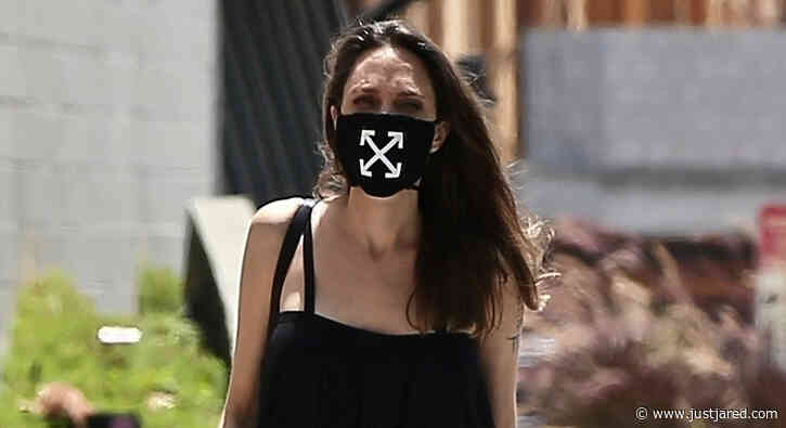 Angelina Jolie Wears an Off-White Face Mask While Shopping in Los Feliz