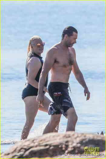 Hugh Jackman Goes Shirtless for Beach Day with Wife Deborra Lee Furness! | hugh jackman goes shirtless day at beach with wife deborra lee furness 02 - Photo - Just Jared