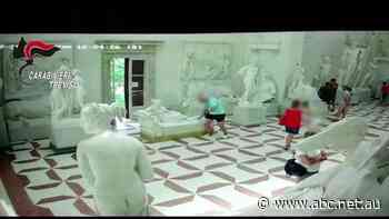 CCTV shows posing tourist damaging statue at Italian museum