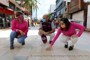 Avanzan trabajos en la Quinta Avenida de Playa del Carmen con la colocación de baldosas - Palco Quintanarroense
