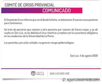   Detectaron tres nuevos casos de coronavirus en San Luis - Agencia de Noticias San Luis