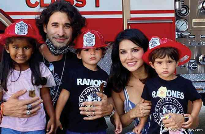 Sunny Leone's kids, Nisha, Noah and Asher, are the cutest firefighters you'll ever see!