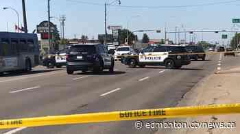 Stony Plain Road closed by police, body seen under tarp - CTV News Edmonton