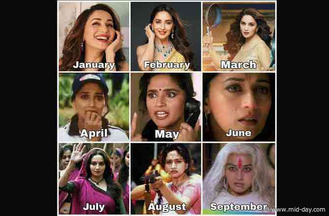 Madhuri Dixit takes 2020 challenge, shares quirky collage featuring different moods