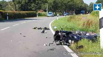 Unfall zwischen Ocholt und Apen: Motorradfahrerin schwer verletzt - Straße gesperrt - Nordwest-Zeitung