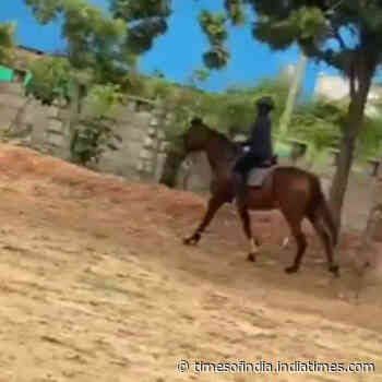 Darshan Thoogudeepa Srinivas son Vineesh spends weekend riding the horse at his father's farm house