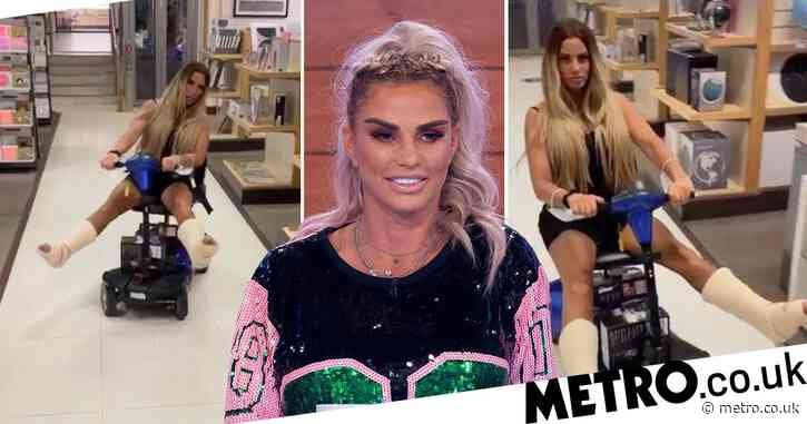 Katie Price turns broken feet into content as she whizzes around on mobility scooter to Batman theme
