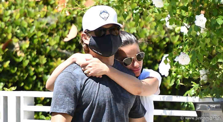 Pregnant Lea Michele Cozies Up to Husband Zandy Reich on Morning Walk