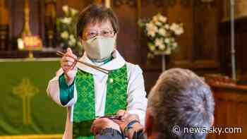 Coronavirus: Vicar uses chopsticks to serve bread in Holy Communion safety measure - Sky News