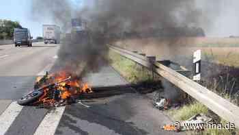Unfall auf A7 südlich von Kassel : Motorrad geht in Flammen auf - hna.de