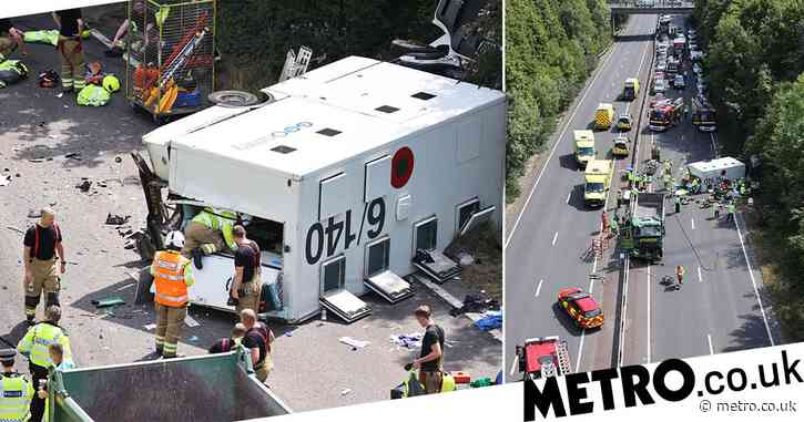 Three people seriously injured after prison van overturns on way to court