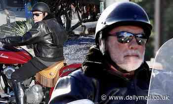 Arnold Schwarzenegger rides motorbike after grandchild's birth