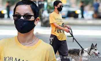 Zoe Kravitz wears Bob Marley T-shirt on New York dog walk