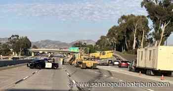 East I-8 lanes reopen in El Cajon after big rig hauling crane overturns