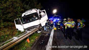 Werl/Soest: A44 - schwerer Unfall - Lkw landet hinter Leitplanke - Fahrer in Klinikum Dortmund-Nord - soester-anzeiger.de