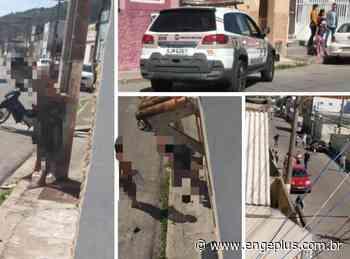 Acusado de roubar ciclista é amarrado em poste de energia, em Laguna - Engeplus