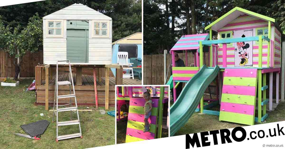 Mum transforms £65 secondhand wendy house into rainbow-bright dream playhouse with two slides and a sandpit