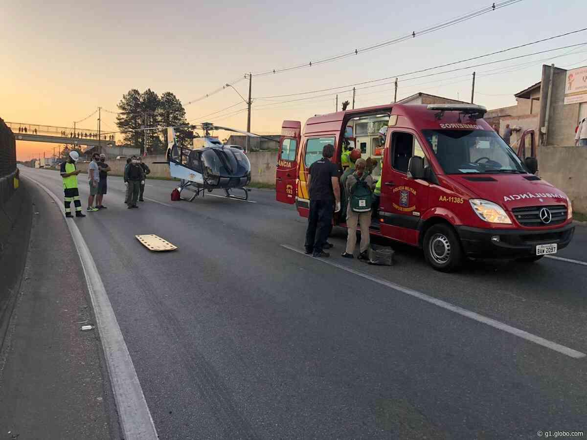 Rapaz é atropelado na BR-376, em São José dos Pinhais, e é resgatado de helicóptero - G1