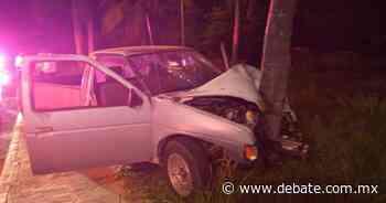 Conductor se impacta contra una palmera en la zona de Cerritos en Mazatlán - DEBATE
