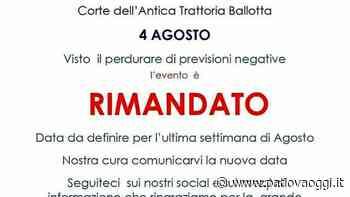 """""""Made in Torreglia"""" all'Antica trattoria Ballotta: evento rimandato a causa delle condizioni meteo avverse - PadovaOggi"""