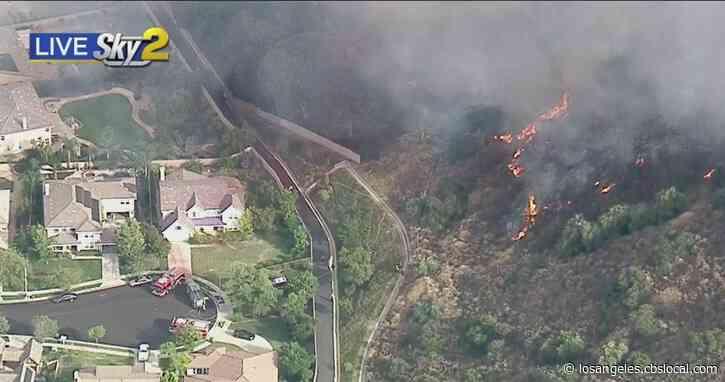 Corona FD Battles Wildfire Near Skyline Drive Trail Burning Close To Homes