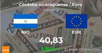 Euro hoy en Nicaragua: cotización del córdoba nicaragüense oficial al euro del 13 de agosto. EUR NIO - infobae