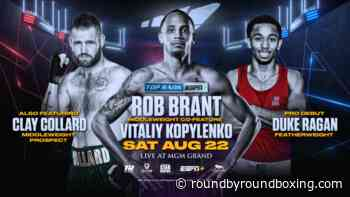 "August 22: Rob Brant-Vitaliy Kopylenko and the Return of ""Cassius"" Clay Collard Set for Eleider Alvarez-Joe Smith Jr. Card Exclusively on ESPN+ - Round By Round Boxing"