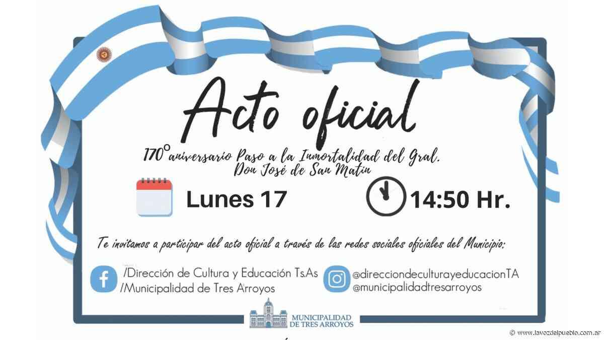 El lunes se realizará el acto en homenaje a San Martín - La Voz del Pueblo