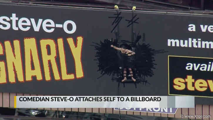 Steve-O attaches himself to Hollywood billboard