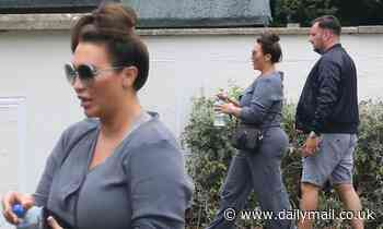 Lauren Goodger looks casually chic in an all-grey ensemble as she steps out with a pal