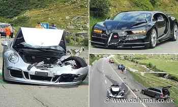 Bugatti Chiron and Porsche 911 crash as both drivers try to overtake slow-moving motorhome