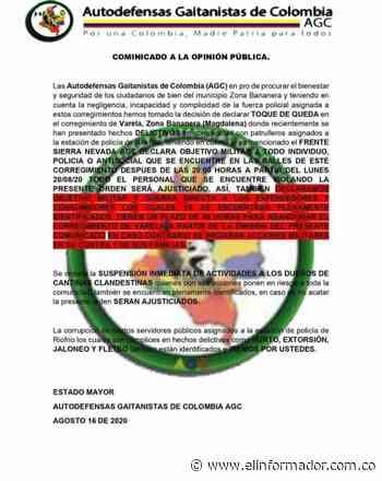 Policía Magdalena se pronuncia sobre supuesto panfleto en Zona Bananera - El Informador - Santa Marta