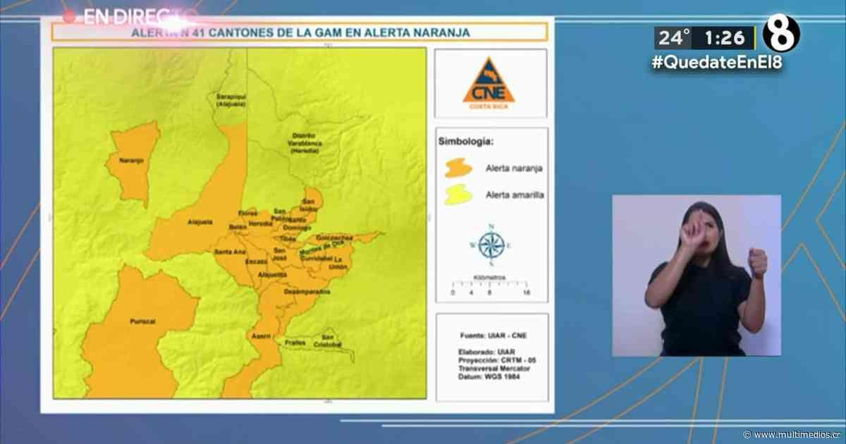 Cantones de Montes de Oca y Parrita pasan de alerta naranja a amarilla - Multimedios Costa Rica