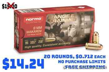 Ammo Deals: Norma Range & Training, 9mm MAKAROV, FMJ, 95 Grain, 20 Round Boxes $14.24 - AmmoLand Shooting Sports News