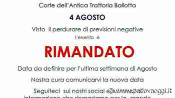 """""""Made in Torreglia"""" all'Antica trattoria Ballotta: evento rimandato a causa delle condizioni meteo avverse - padovaoggi.it"""